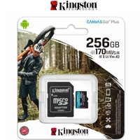 Micro SD Card Kingston Canvas Go Plus 256GB SDXC Mobile Phone 4K Action Camera U3 A2 170MB/S